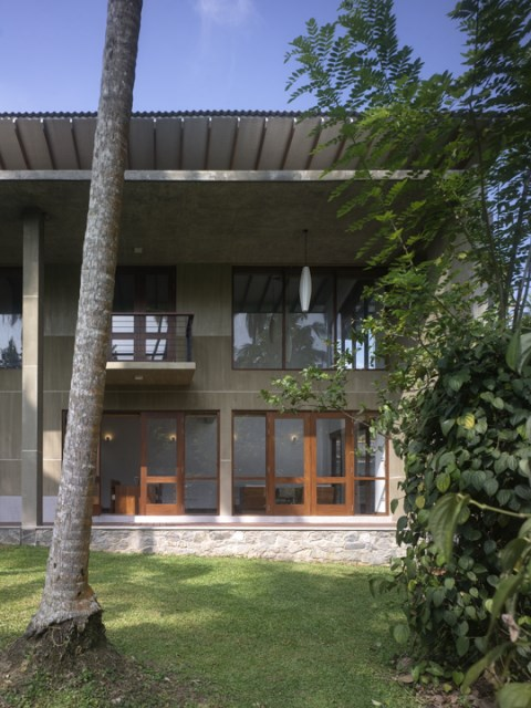 Modern villa cement houses Two-storey house (7)