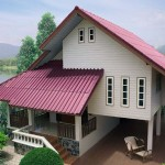 แบบบ้านไม้ทรงไทยประยุกต์ ยกพื้นสูง มีใต้ถุนโปร่ง โดดเด่นด้วยหลังคาสีม่วงประกายมุก