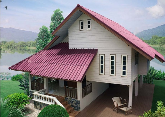 pink roof wooden spacey basement house (1)