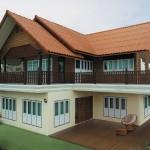 แบบบ้านครึ่งปูนครึ่งไม้สไตล์ไทยประยุกต์ 2 ห้องนอน 2 ห้องน้ำ มีชานบ้านโปร่งโล่งรับบรรยากาศดีๆ