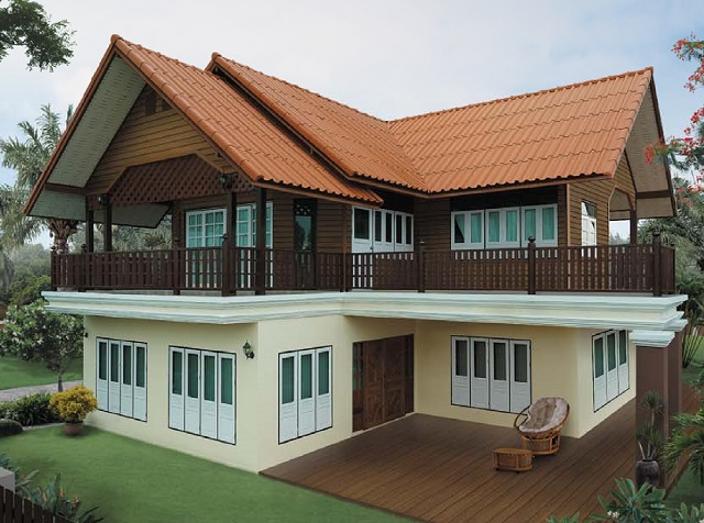 thai contemporary half concrete half wooden  2 bedroom house (1)