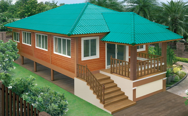 thai contemporary wooden patio green roof house (1)