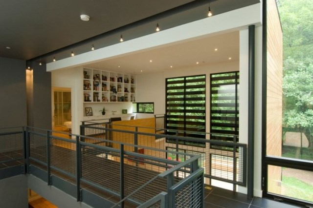 two-story Modern house Decorative wood steel and glass (2)