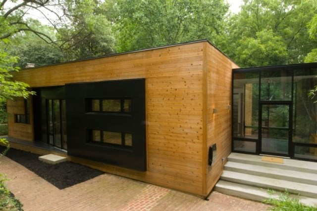 two-story Modern house Decorative wood steel and glass (5)