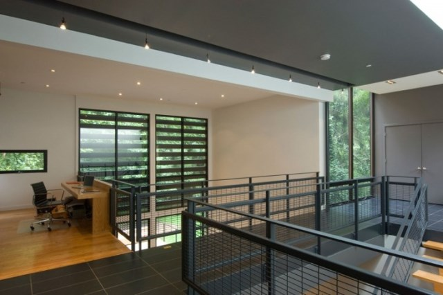 two-story Modern house Decorative wood steel and glass (7)