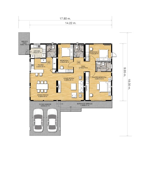 1-storey-white-middle-family-house plan