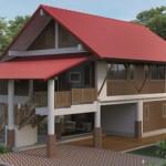 แบบบ้านสองชั้นมีใต้ถุนโปร่ง 3 ห้องนอน 2 ห้องน้ำ ในรูปแบบไทยประยุกต์ที่คนไทยคุ้นเคย