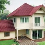 แบบบ้านสองชั้น 3 ห้องนอน 3 ห้องน้ำ เรียบง่ายกะทัดรัด สวยเด่นด้วยหลังคาสีม่วงประกายมุก