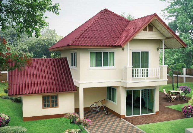 2 storey contemporary house with purple roof (1)