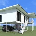บ้านโมเดิร์นยกพื้นสูง ออกแบบด้วยโครงสร้างเหล็ก เรียบง่าย รับกับบ้านตากอากาศตามสวนป่า