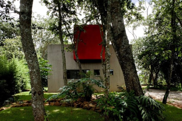 Modern house two-story  Designed with cement With garden (10)