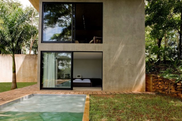 Modern house two-story  Designed with cement With garden (8)