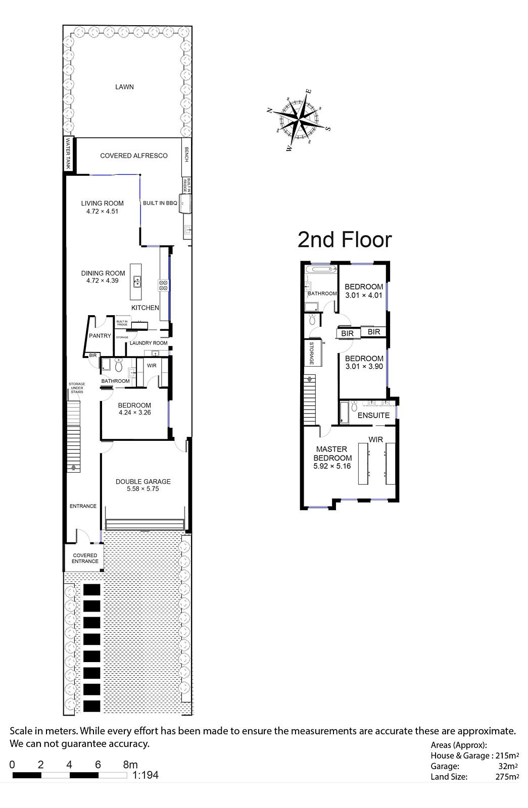 narrow facade spacious decorated modern house plan