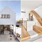 บ้านโมเดิร์นสองชั้น ออกแบบหน้าแคบ ลึกไปด้านหลัง พร้อมสวนหย่อม และลานคอนกรีตภายใน