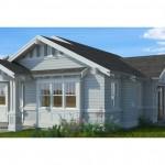 บ้านบังกะโลขนาดเล็ก กะทัดรัด โทนสีอ่อนหวาน ตกแต่งด้วยไม้ หลังคาจั่ว
