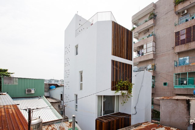 3 storey house Minimalist decor With concrete and wood (4)