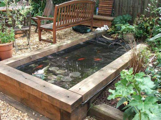 46 for Wooden koi pond construction