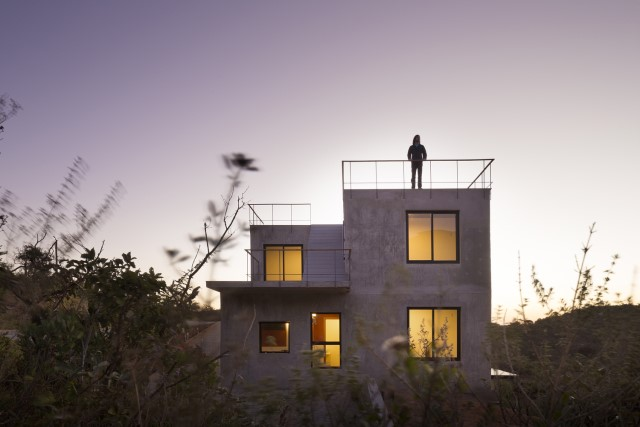 Modern cement houses Airy with natural villa (1)