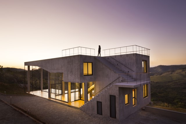 Modern cement houses Airy with natural villa (16)