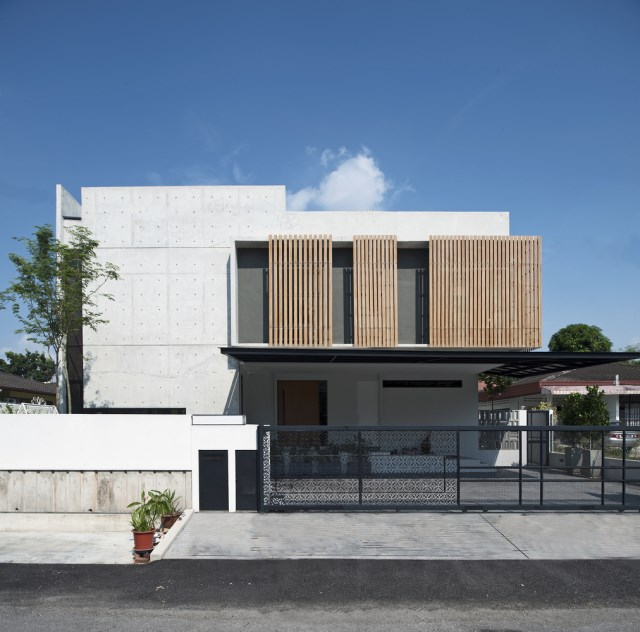 Modern villas with swimmimg pool Decoratedcement and wood (4)
