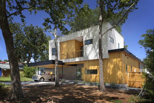 Villa large Modern Style Decorated with wood steel glass (1)