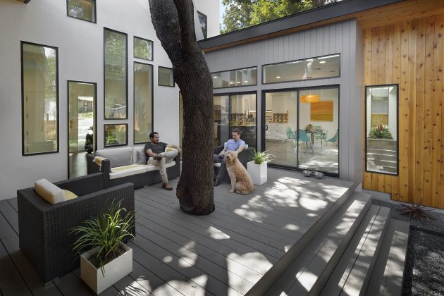 Villa large Modern Style Decorated with wood steel glass (4)