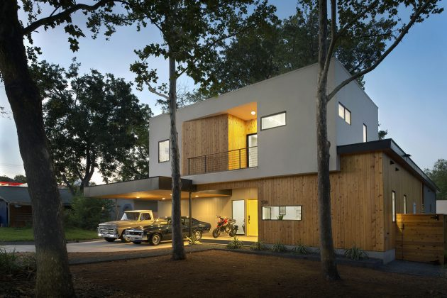 Villa large Modern Style Decorated with wood steel glass (7)