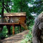 บ้านตากอากาศสไตล์เคบิน ยกพื้นสูง โดดเด่นด้วยหลังคาโค้ง วัสดุตกแต่งด้วยไม้ทั้งหลัง