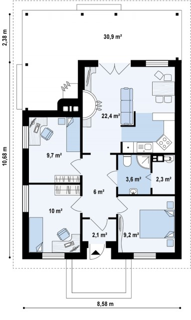 contemporary House 3 bedrooms 2 bathrooms (3)
