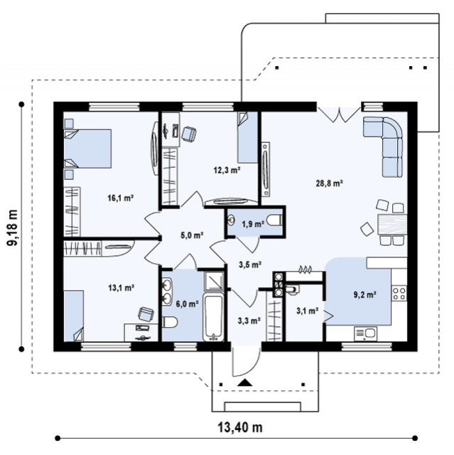 contemporary House compact 3 bedrooms 2 bathrooms (3)
