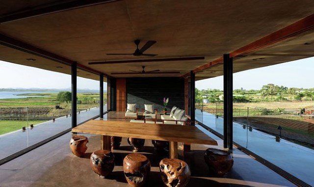 vacation home Modern style Decorated concrete with glass (1)