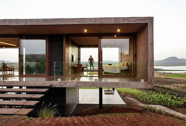 vacation home Modern style Decorated concrete with glass (2)