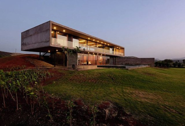vacation home Modern style Decorated concrete with glass (3)