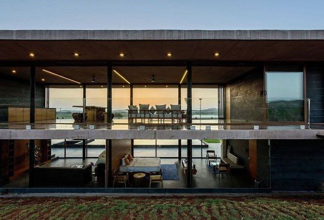 vacation home Modern style Decorated concrete with glass (5)