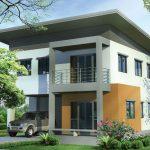 แบบบ้านสองชั้นหลังคาเพิงหมาแหงน 3 ห้องนอน 3 ห้องน้ำ ออกแบบสำหรับครอบครัวไทย