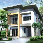แบบบ้านสองชั้นทรงโมเดิร์นขนาด 3 ห้องนอน สวยเรียบมีสไตล์ เหมาะกับครอบครัวไทยสมัยใหม่