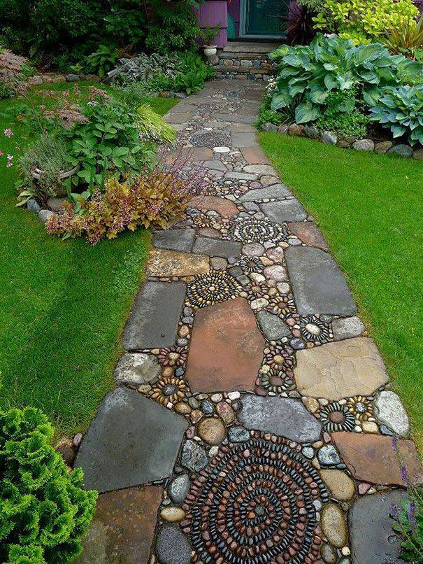 77 stone path ideas for gardening (22)