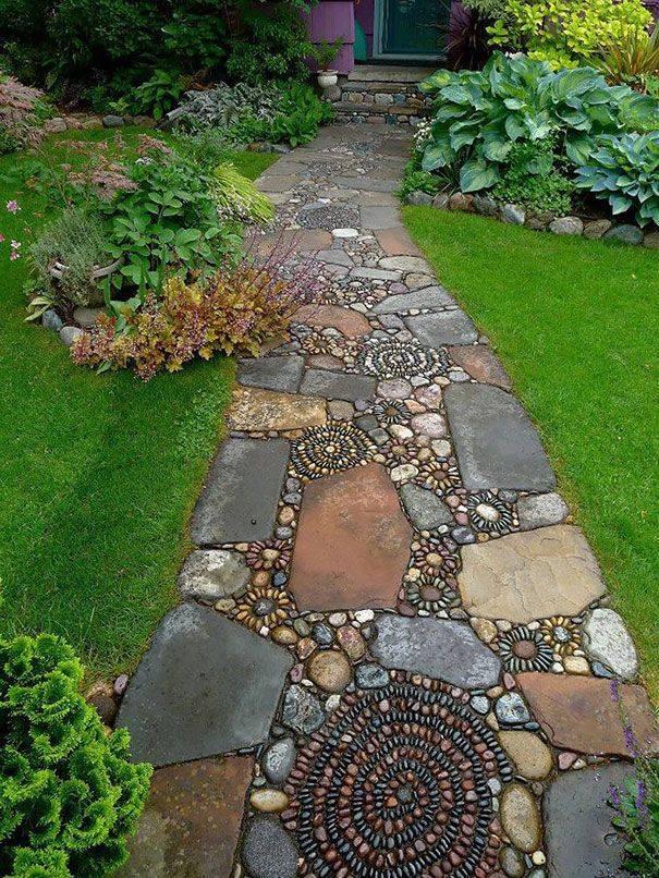 77 stone path ideas for gardening (22)