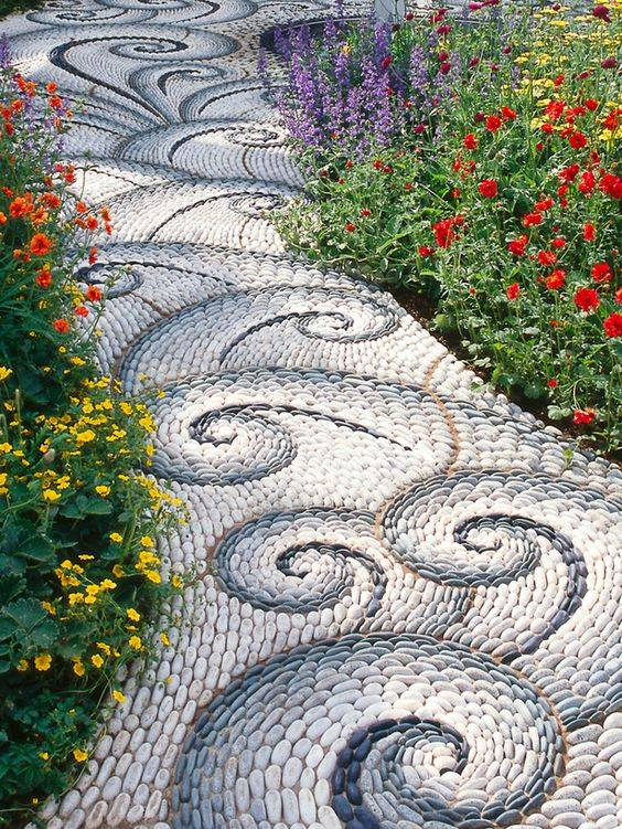 77 stone path ideas for gardening (28)