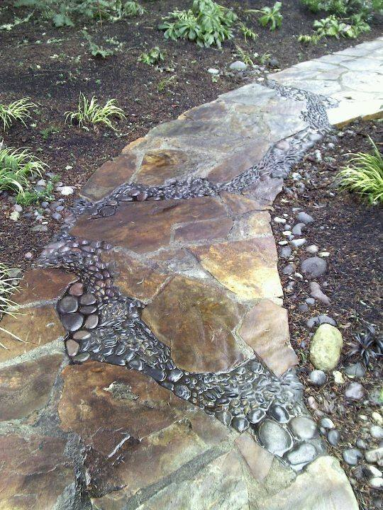 77 stone path ideas for gardening (35)