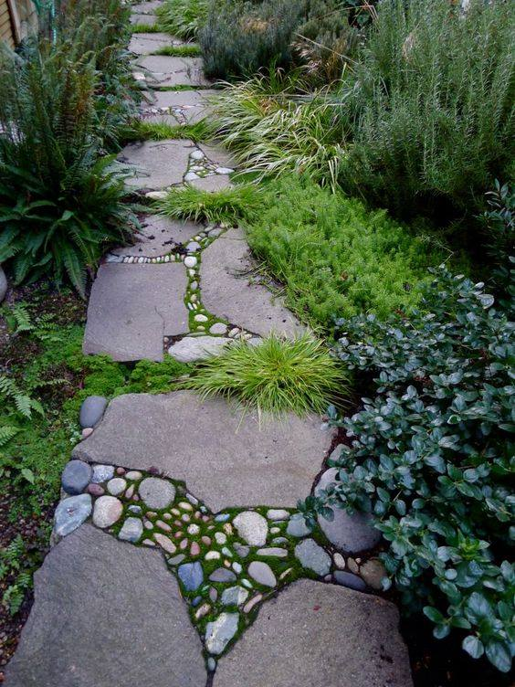 77 stone path ideas for gardening (52)