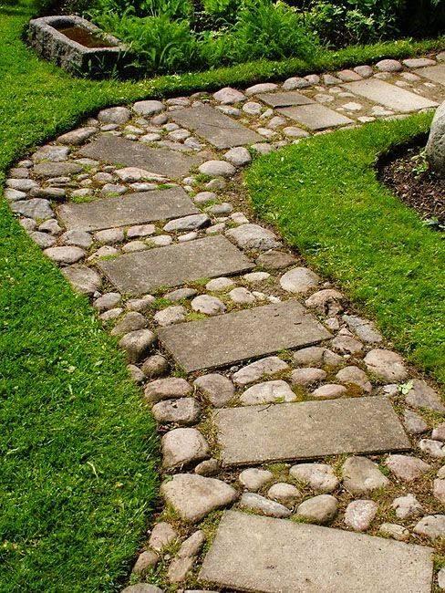 77 stone path ideas for gardening (63)