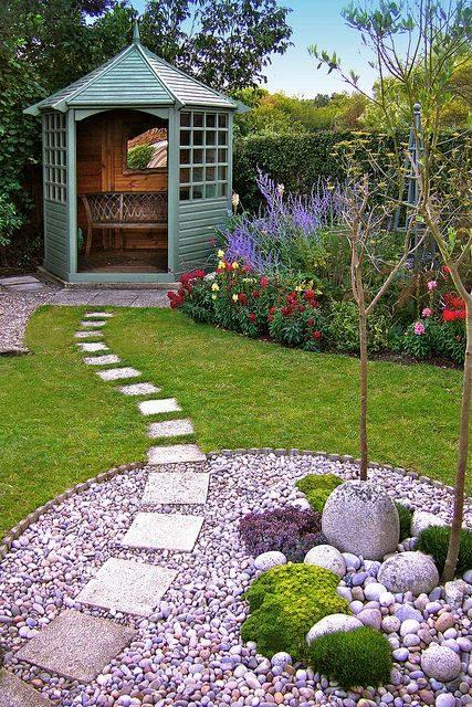 77 stone path ideas for gardening (71)