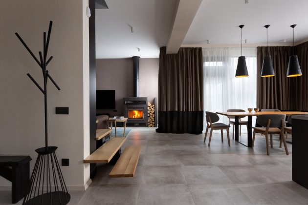 Modern house beautiful and dignified Decorated with concrete wood and steel (13)