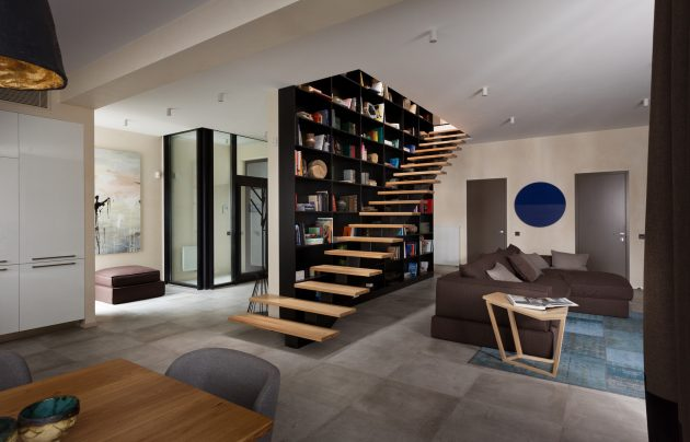 Modern house beautiful and dignified Decorated with concrete wood and steel (15)