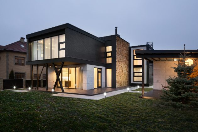 Modern house beautiful and dignified Decorated with concrete wood and steel (18)