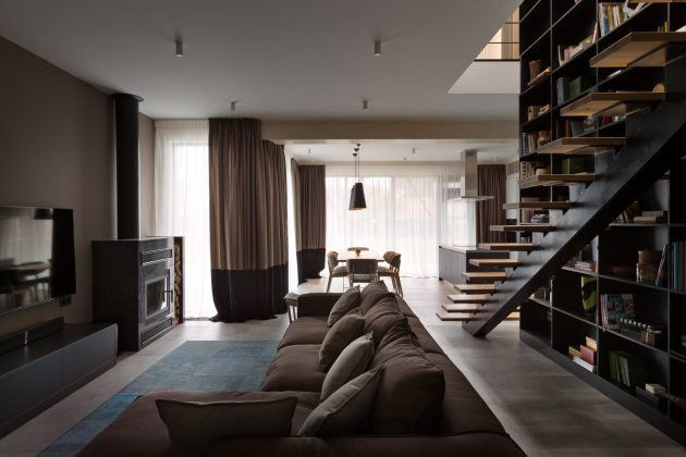 Modern house beautiful and dignified Decorated with concrete wood and steel (8)