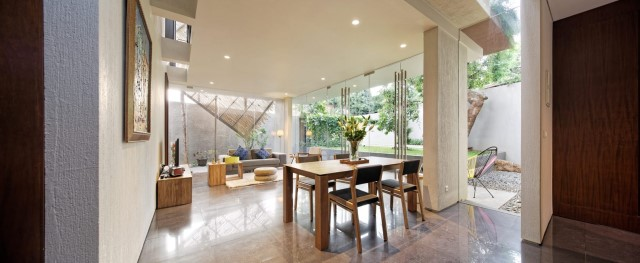 Two-story contemporary home Decorated with wooden (1)