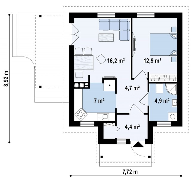 contemporary House 1 bedroom 1 bathroom (3)