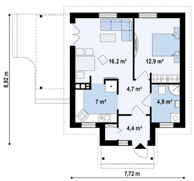 contemporary House 1 bedroom 1 bathroom (3)